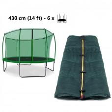 AGA belső védőháló 430 cm átmérőjű trambulinhoz 6 rudas - felső köríves - Sötét zöld