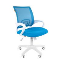 Chairman 696 modern irodai forgószék fehér vázzal-kék