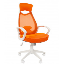 Chairman fehér vázas modern forgószék fejtámlával-narancssárga Előnézet