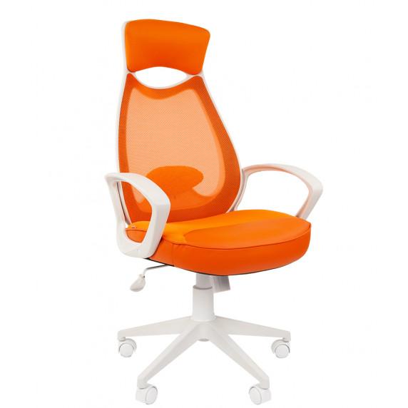 Chairman fehér vázas modern forgószék fejtámlával  CH7023225 - Narancssárga