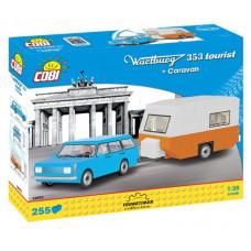 COBI 24592 Youngtimer Wartburg 353 Tourist lakókocsival Előnézet