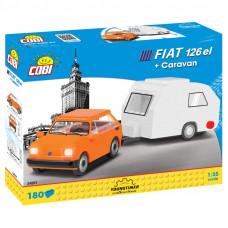 COBI 24591 Youngtimer Polish Fiat 126 lakókocsival 1:35 Előnézet