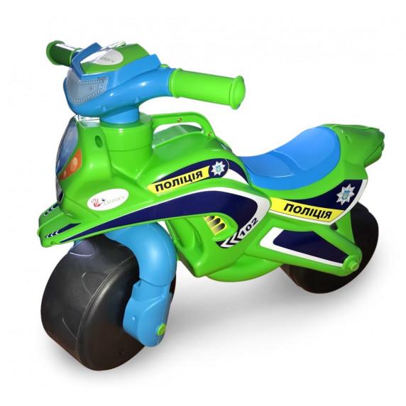 Lábbal hajtós kismotor Inlea4Fun POLICE - Zöld/kék