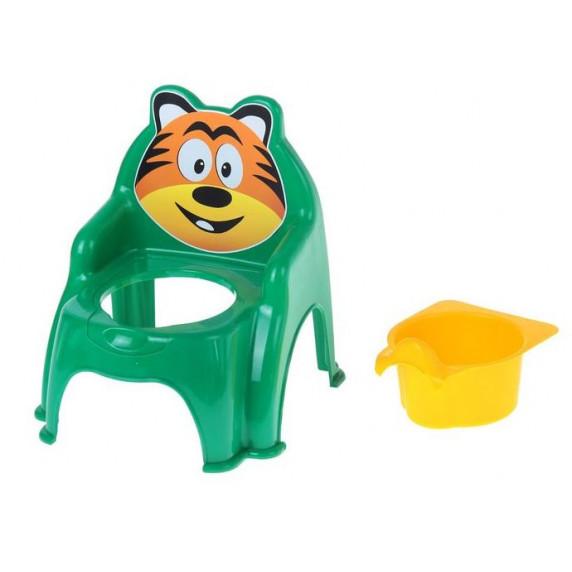 Szék formájú gyerek bili Inlea4Fun Tigrises - zöld