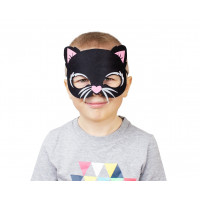 GoDan Macska álarc gyerekeknek - fekete 18,5 x 14 cm