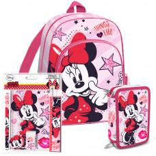 Iskolai szett Kids Licensing Minnie 2021 RÓZSASZÍN - hátizsák, tolltartó, füzet készlet Előnézet