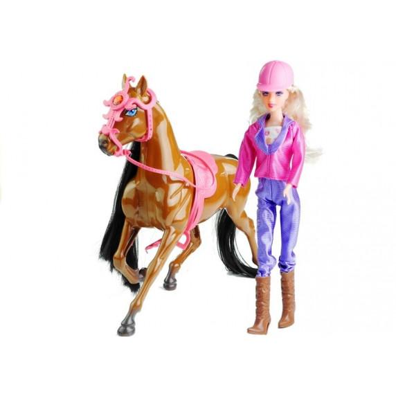 Inlea4Fun HORSES FAMILY Zsoké baba barna lóval és kiegészítőkkel