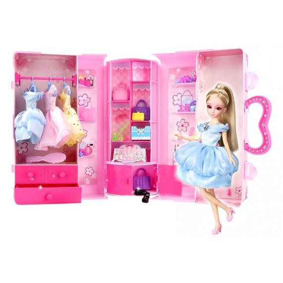 Ruhásszekrény játék babával és kiegészítőkkel Inlea4Fun LELIA STAR CLOSET