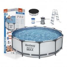 Medence papírszűrős vízforgatóval 366x100 cm BESTWAY 56418 Steel Pro Max  Előnézet