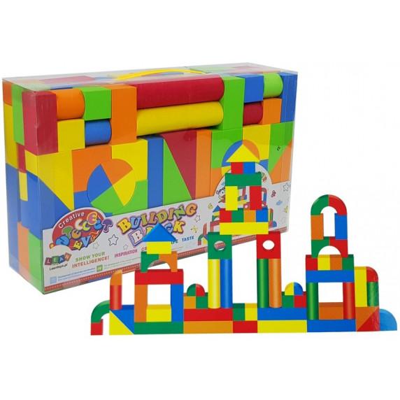 Fa építőkocka gyermekeknek 131 darabos Inlea4Fun BUILDING BLOCK