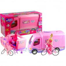 Inlea4Fun MY DREAM HOME Rózsaszín lakókocsi kerékpárral Előnézet