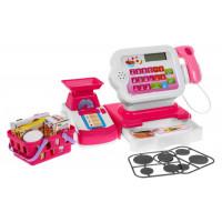 Pénztárgép kiegészítőkkel és bevásárlókosárral - rózsaszín/fehér Inlea4Fun CASH REGISTER