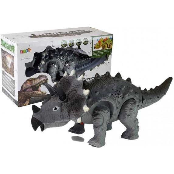 Inlea4Fun TRICERATOPS Lépegető, sétáló dinoszaurusz figura fény- és hangeffektekkel - szürke