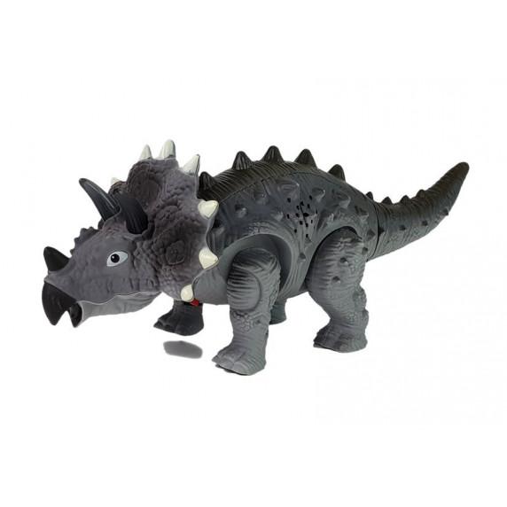 Lépegető, sétáló dinoszaurusz figura fény- és hangeffektekkel Inlea4Fun TRICERATOPS - szürke