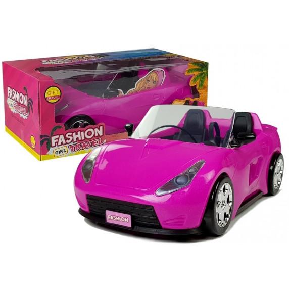 Inlea4Fun FASHION TRAVEL Ružové autíčko kabriolet pre bábiky 34 cm