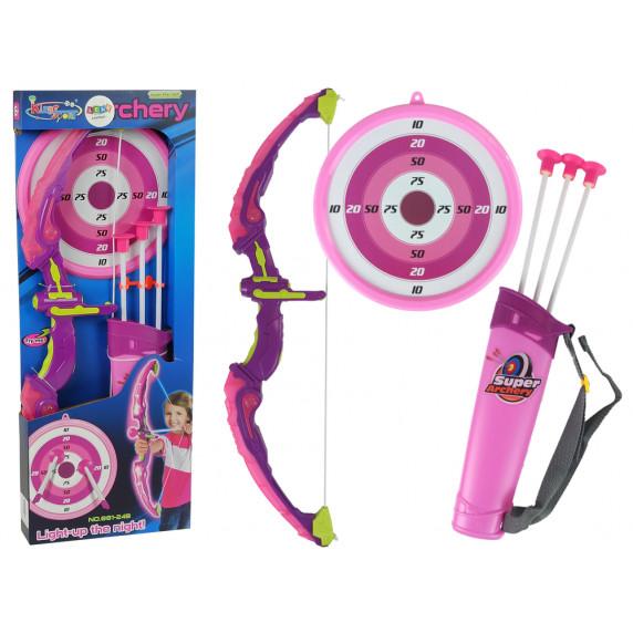 Gyerek íj készlet céltáblával Inlea4Fun KIDS SPORT - Rózsaszín