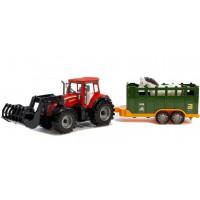Játék traktor utánfutóval és lóval Inlea4Fun FARM TRAKTOR