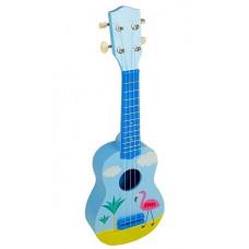 Inlea4Fun Játék ukulele flamingó mintával - kék Előnézet