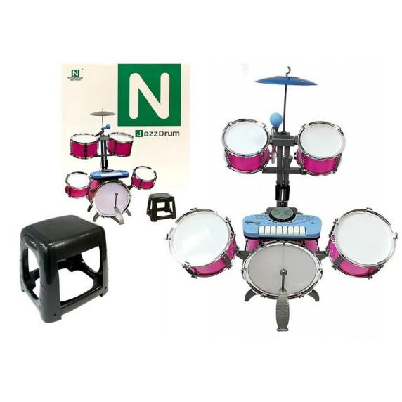 Játék dobfelszerelés Inlea4Fun JAZZ DRUM - rózsaszín