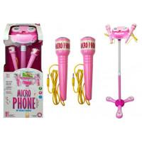 Inlea4Fun Karaoke állvány mikrofonnal - rózsaszín
