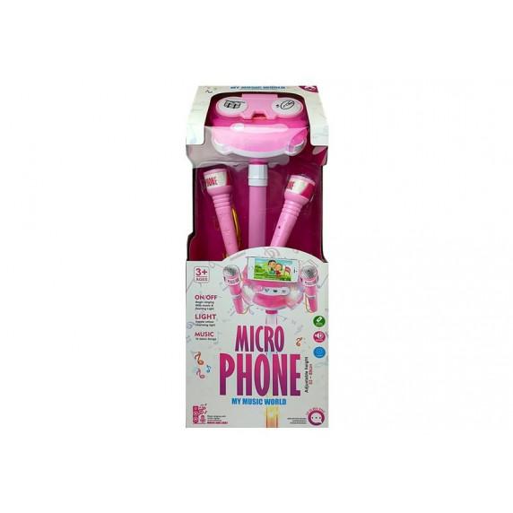 Karaoke állvány mikrofonnal Inlea4Fun MIKRO PHONE - rózsaszín