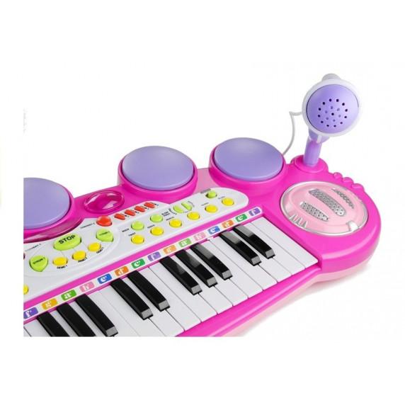 Elektronikus játék zongora Inlea4Fun LET THE CHILD - rózsaszín
