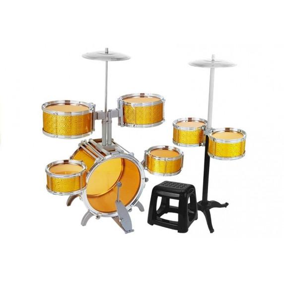 Játék dobfelszerelés Inlea4Fun DRUM SET - aranyszínű