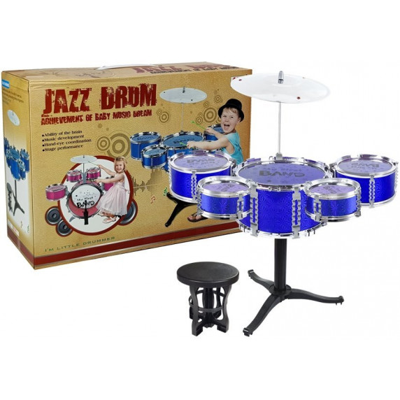 Inlea4Fun JAZZ DRUM Játék dobfelszerelés - kék