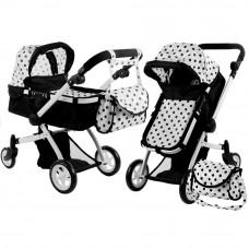 ALICA játékbabakocsi mély/sportkocsi - fekete/fehér Előnézet
