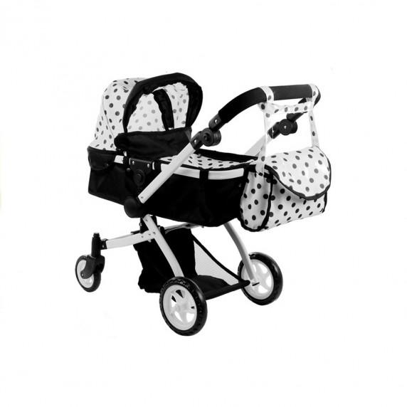 ALICA játékbabakocsi mély/sportkocsi - fekete/fehér