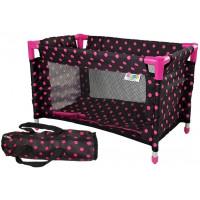 Játék babaágy Inlea4Fun -  fekete rózsaszín pöttyös