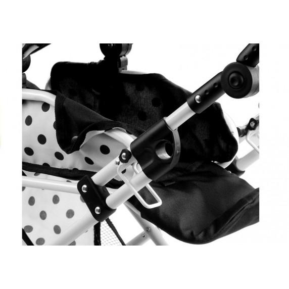 ALICA játék babakocsi hordozható mózeskosárral - fehér/fekete pöttyös