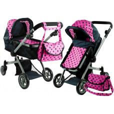 ALICA játékbabakocsi mély/sportkocsi - fekete/rózsaszín Előnézet