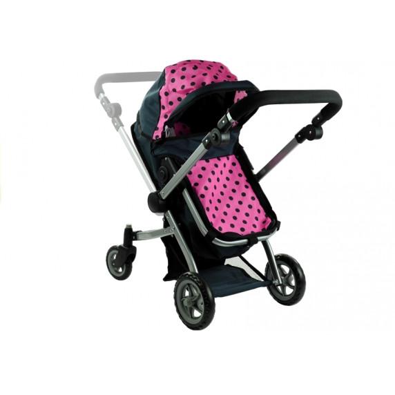 ALICA játékbabakocsi mély/sportkocsi - fekete/rózsaszín