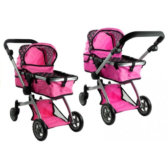 ALICA játékbabakocsi mély/sportkocsi - rózsaszín/fekete