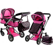 ALICA játékbabakocsi mély/sportkocsi - rózsaszín/fekete Előnézet