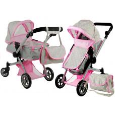 ALICA játékbabakocsi mély/sportkocsi - szürke Előnézet