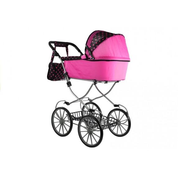 Játék babakocsi RETRO POINT  ALICA - rózsaszín