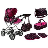 Játék babakocsi hordozható mózeskosárral ALICA - fekete/rózsaszín pöttyös