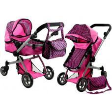 ALICA játékbabakocsi mély/sportkocsi - rózsaszín Előnézet