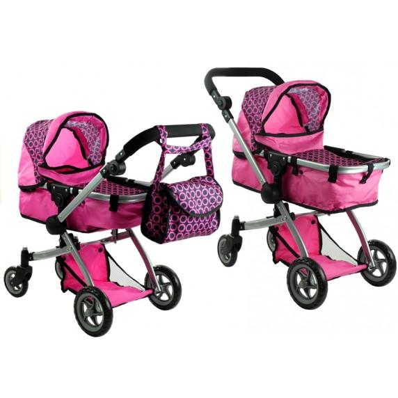 ALICA játékbabakocsi mély/sportkocsi - rózsaszín
