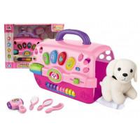 Inlea4Fun MUSIC PET HOUSE Kutya szépségszalon szett hordozóval - rózsaszín