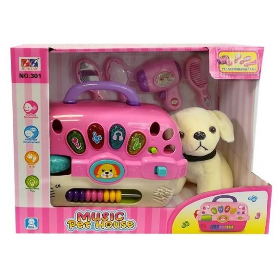 Kutya szépségszalon szett hordozóval Inlea4Fun MUSIC PET HOUSE - rózsaszín