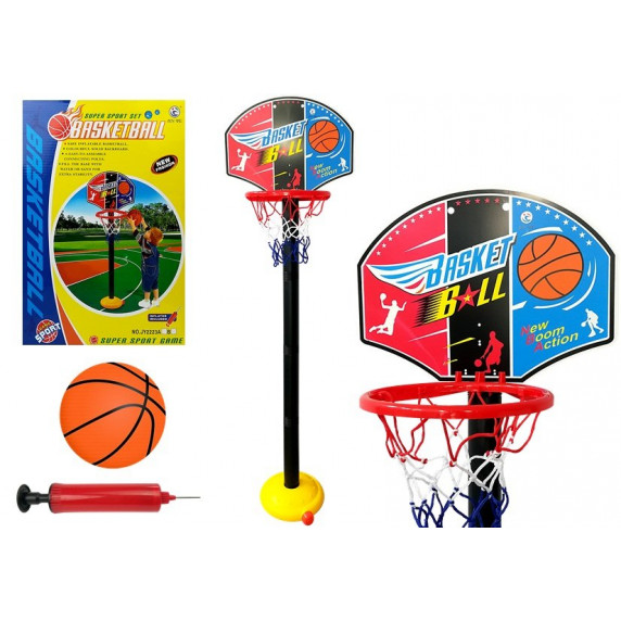 Kosárlabda palánk labdával és pumpával Inlea4Fun SUPER SPORT SET BASKETBALL