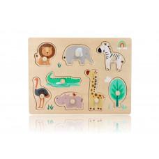 Fa puzzle fogantyúkkal ADAM TOYS - Állatos