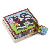 Fa kocka kirakó 16 darabos Wody - házi állatok