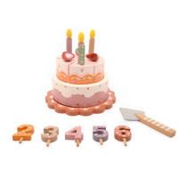 Fa szeletelhető zenélő torta szett Magni - rózsaszín