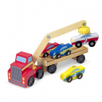 Versenyautó szállító kamion emelővel MELISSA & DOUG