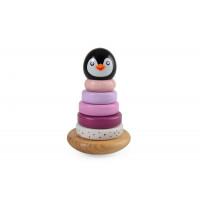 Fa építő készlet piramis - pingvin - rózsaszín