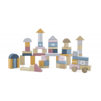 Fa építőkocka gyermekeknek 60 darabos -pasztell